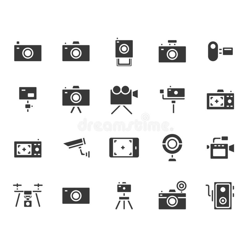 Camera related icon set. Vector illustration royalty free illustration