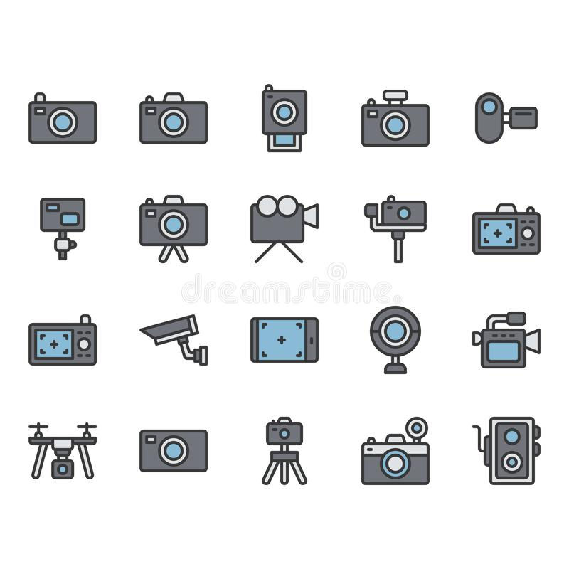 Camera related icon set. Vector illustration vector illustration
