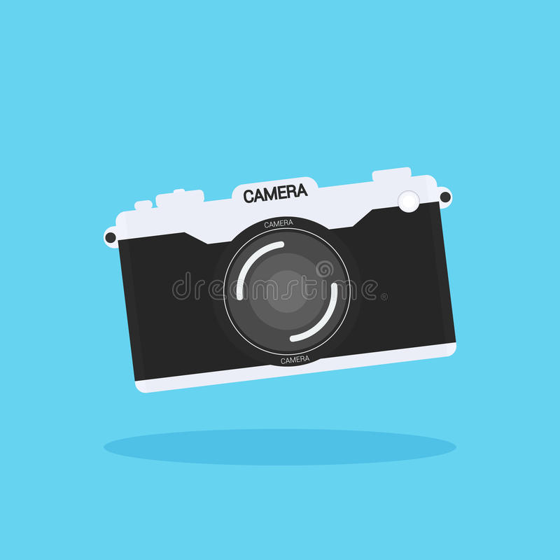 Camera of retro or vintage in a flat style on a colored backgro stock illustration