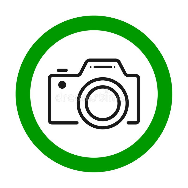 Camera's toegestaan teken Vlak pictogram in groene cirkel Vector illustratie stock illustratie