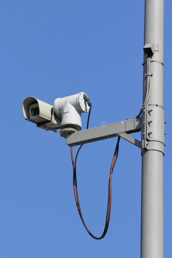 Camera security system. On a mast royalty free stock images