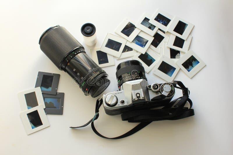 Retro camera set for photography royalty free stock image
