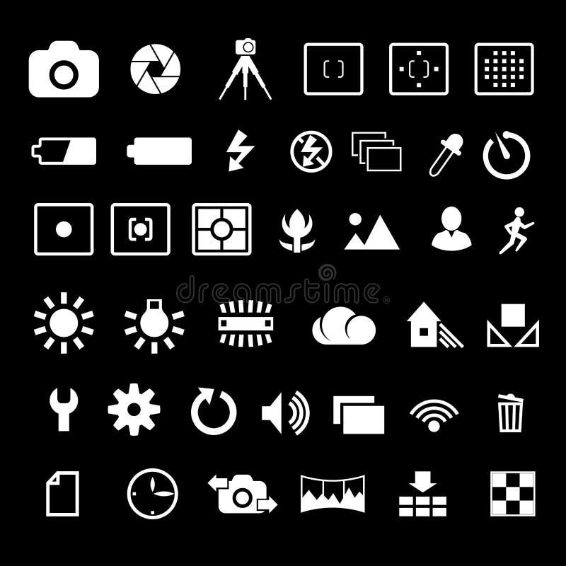 Camera settings icon. Camera options symbols settings and parameters vector icon set royalty free illustration