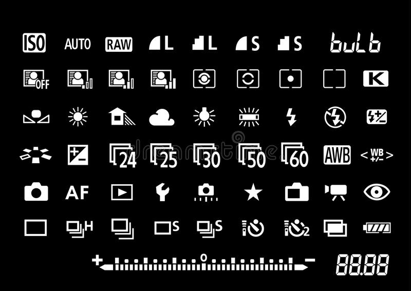 Camera Settings Symbols Stock Vector Illustration Of Aperture