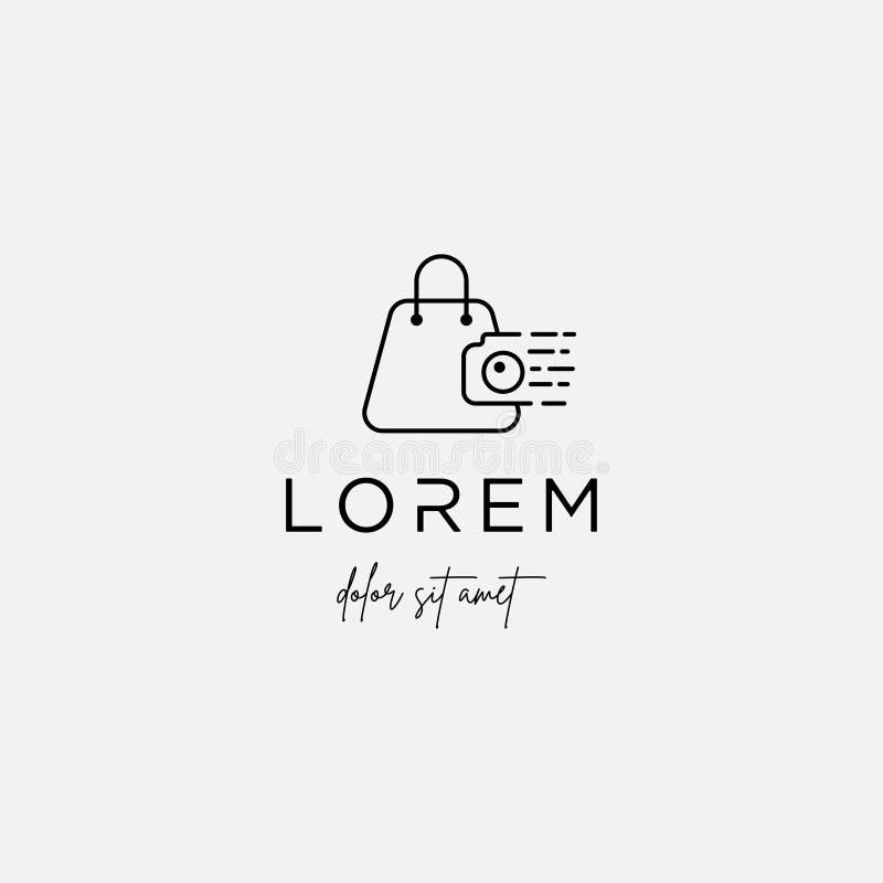 Camera Shop Logo Template Vector Design Symbol. Camera Shop Logo Template Vector Design Icon, photography, shutter, line, simple, lens, technology, store stock illustration