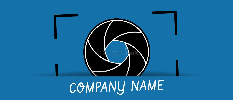 Camera Shutter Aperture Business Logo - Vector Illustration - Isolated On Blue Background royalty free illustration