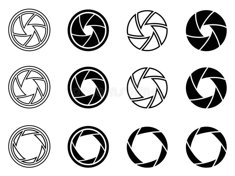 Camera shutter aperture icons. Isolated Camera shutter aperture icons from white background royalty free illustration