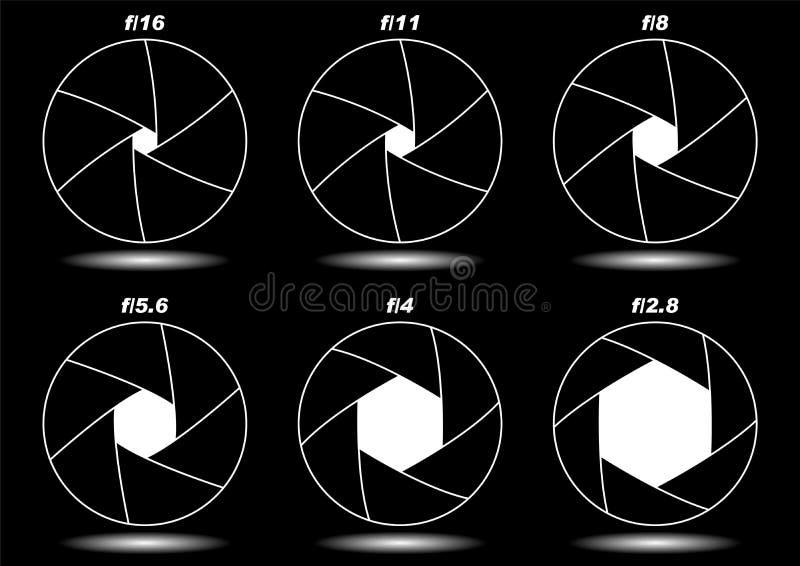 Camera shutter apertures over black. Different camera shutter apertures isolated over black royalty free illustration