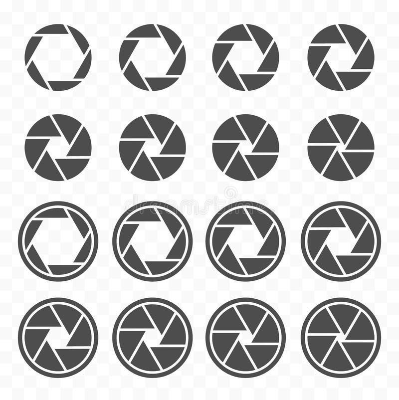 Camera shutter icons set, aperture value icons. Objective lens symbol set stock illustration