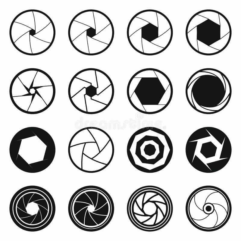 Camera shutter icons set, black simple style stock illustration