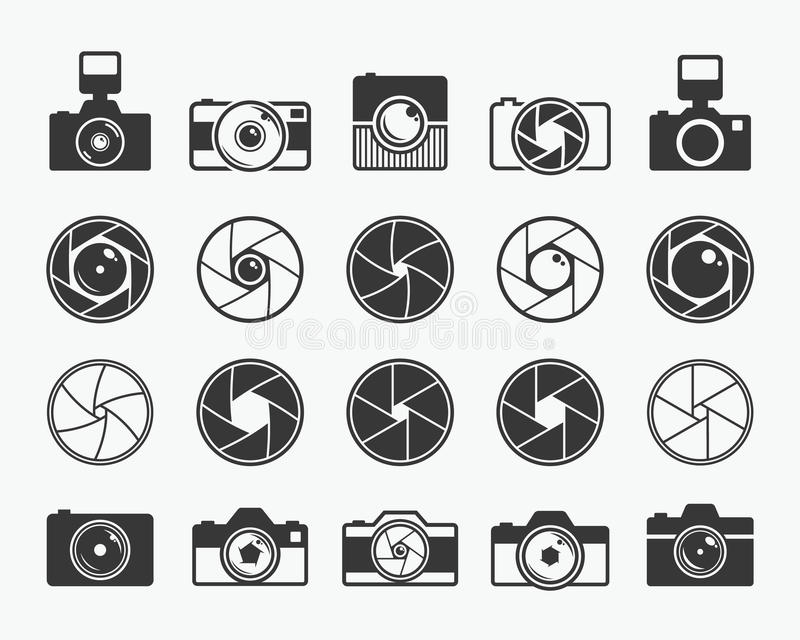 Camera shutter, lenses and photo camera icons. Set. Aperture and photography vector illustration for photo studio, photographer and digital media royalty free illustration