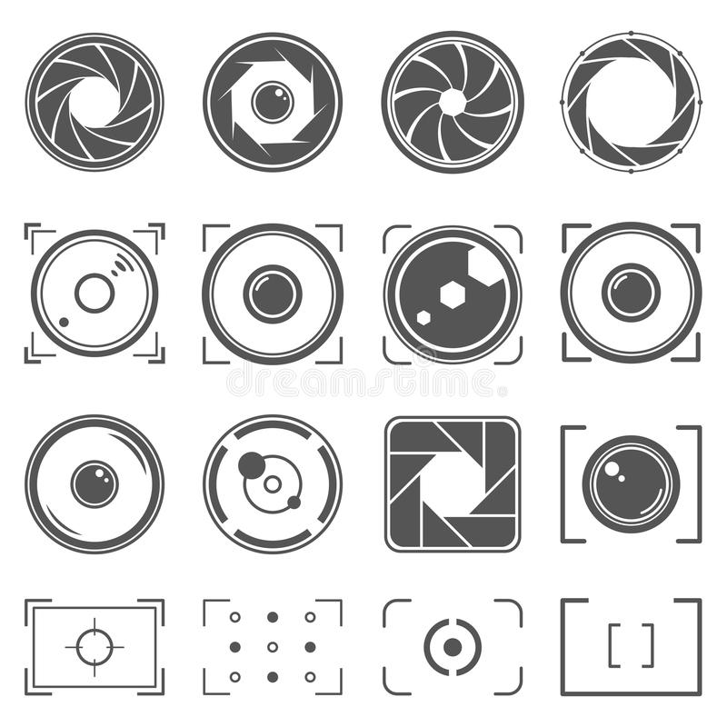 Camera shutter, lenses and photo camera elements set. Aperture and photography illustration. Set of photography concept royalty free illustration