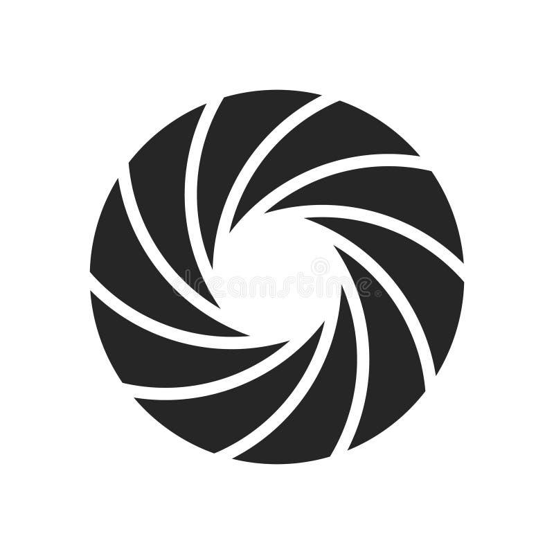 Camera shutter photography icon aperture. Focus vector black lens zoom digital design royalty free illustration