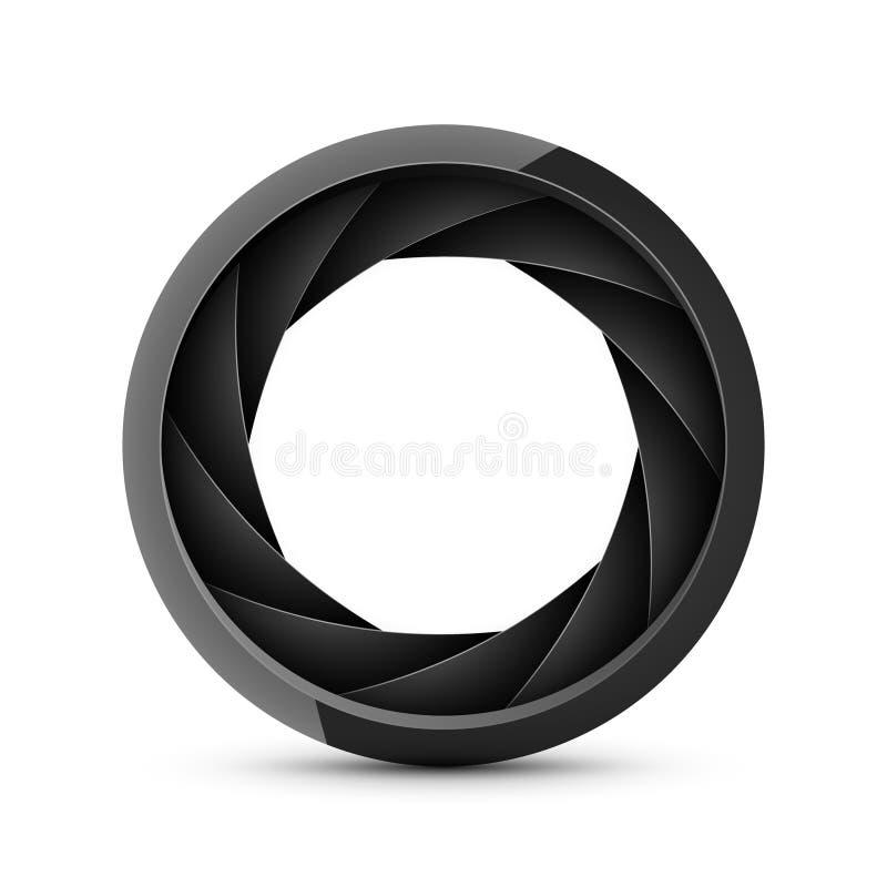 Camera shutter photography icon aperture. Focus vector black lens zoom digital design.  stock illustration
