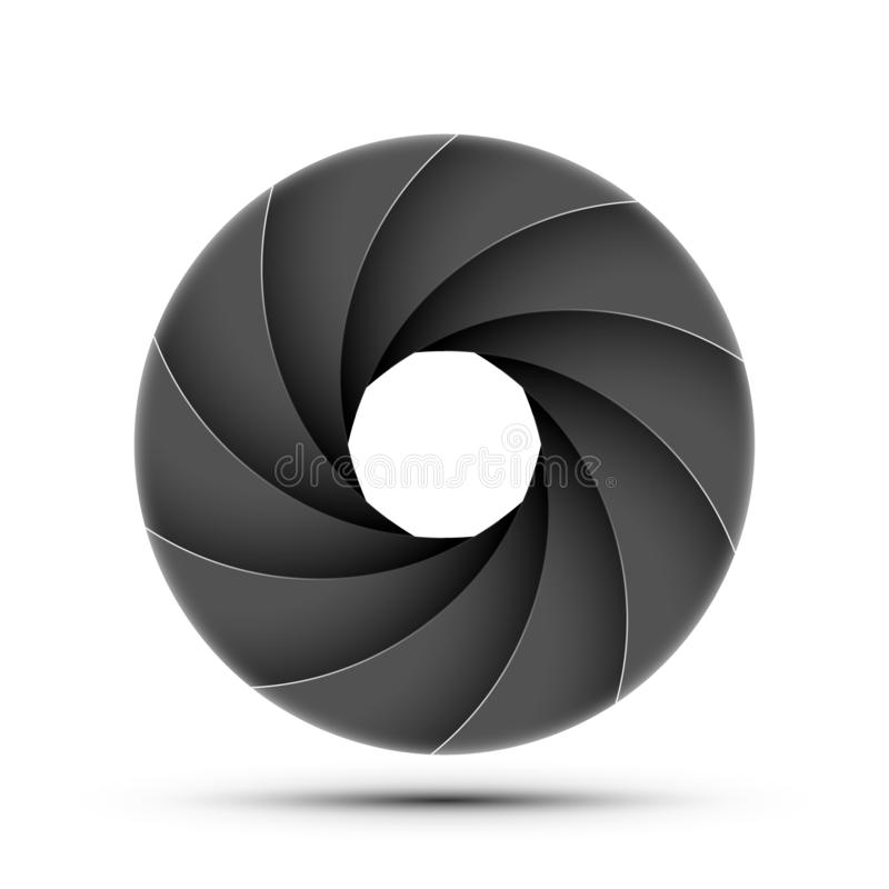 Camera shutter photography icon aperture. Focus vector black lens zoom digital design.  royalty free illustration