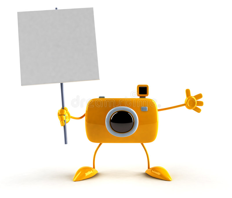 Camera with a sign. A message vector illustration