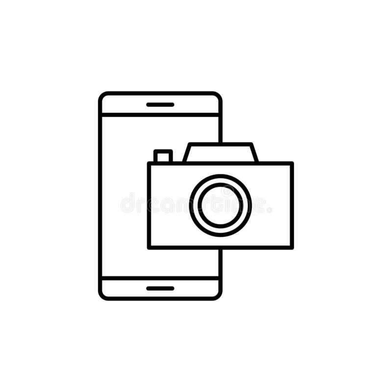 Camera on smart phone icon. Element of video products outline icon for mobile concept and web apps. Thin line camera on smart. Phone icon can be used for web vector illustration