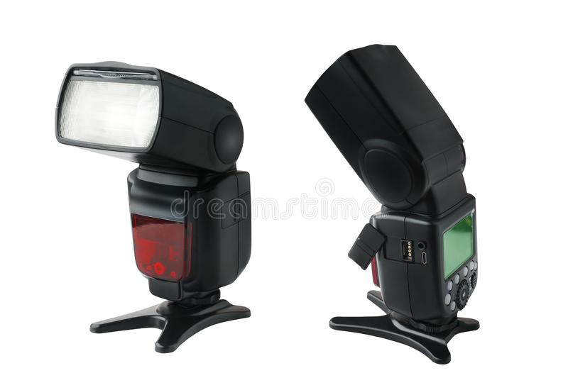 Camera Speedlight flashes ,Photo camera flash and open wireless control port isolated on white background.  royalty free stock photo