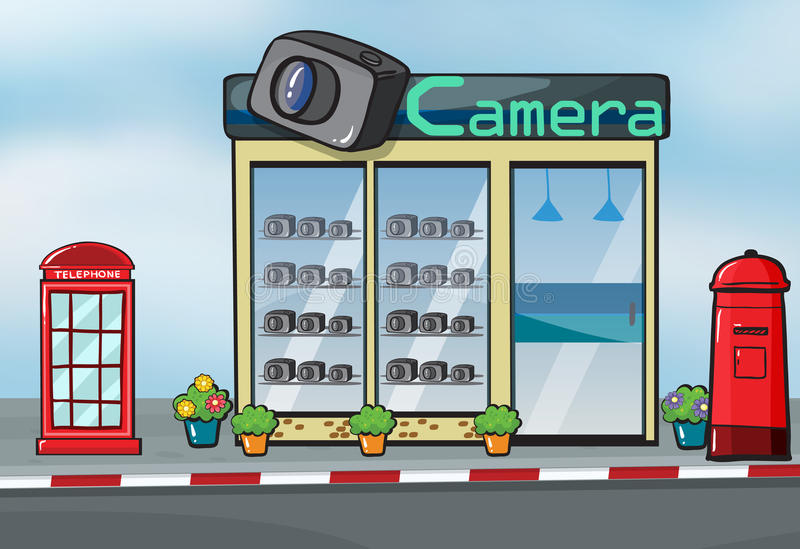 A camera store and letterbox vector illustration