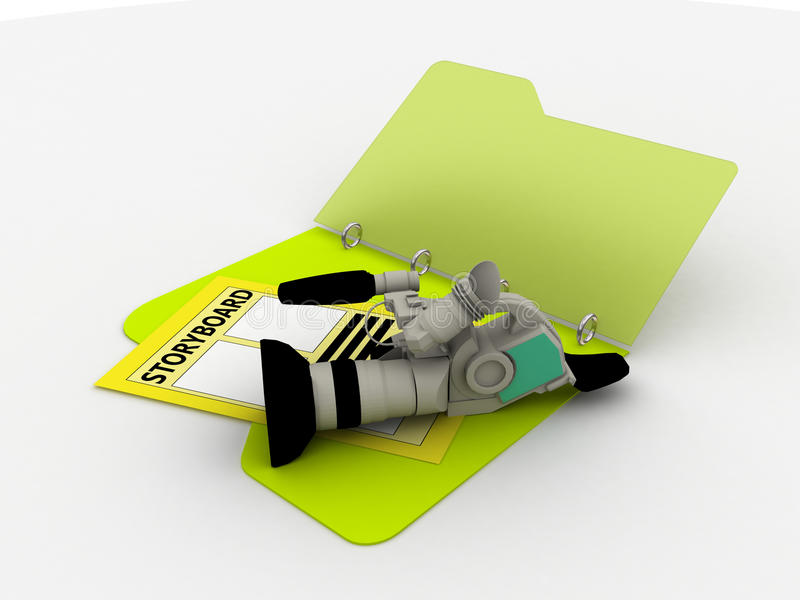 Camera with storyboard vector illustration