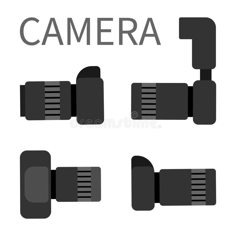 Camera Studio Photography Equipment with Zoom vector illustration