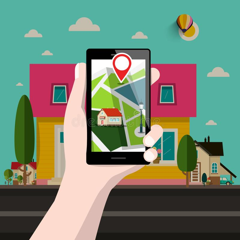 Camera su posizione di GPS di indirizzo illustrazione di stock