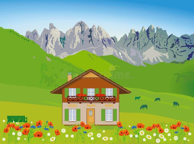 Camera sul contesto della montagna illustrazione vettoriale