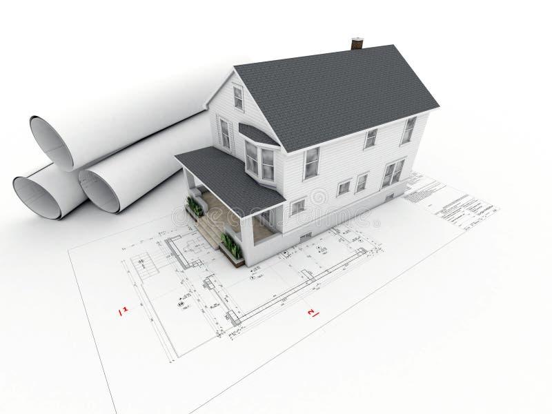 Camera sul disegno architettonico con le pagine rotolate illustrazione vettoriale