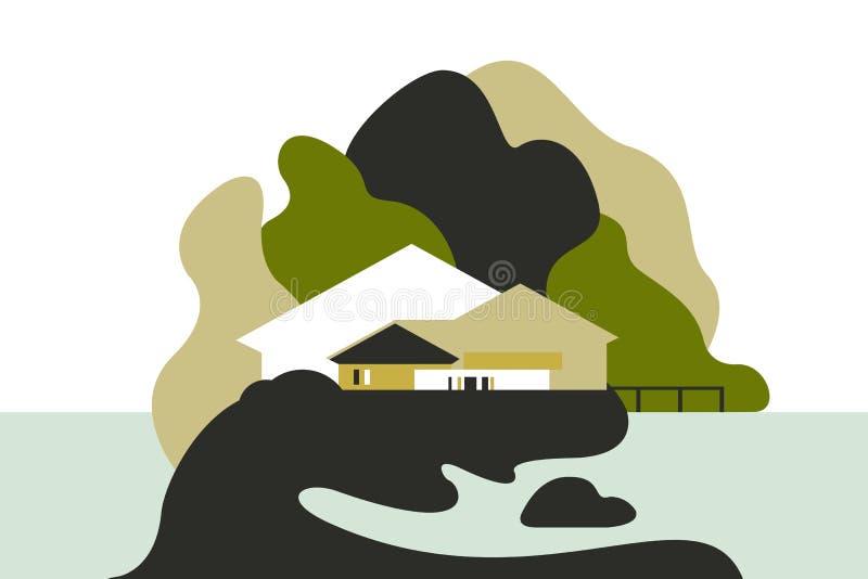 Camera sul lago fra le colline e gli alberi Stile piano Turismo e ricreazione royalty illustrazione gratis