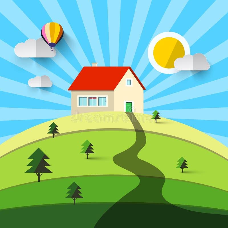 Camera sulla collina Paesaggio naturale di progettazione piana di vettore royalty illustrazione gratis