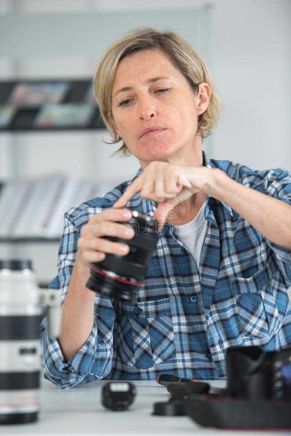Camera technician doing work royalty free stock photography