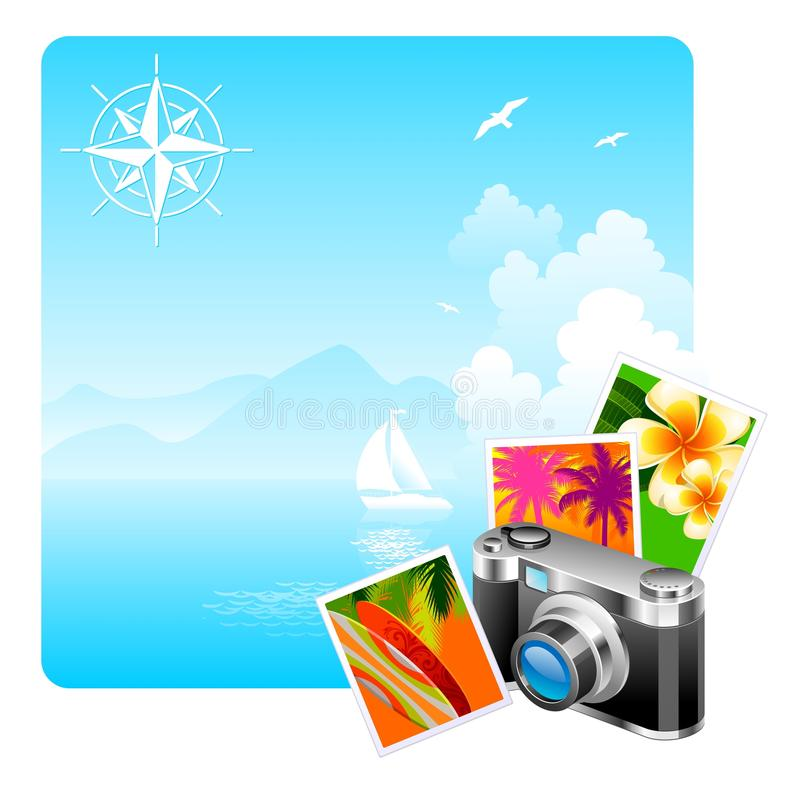 Camera and travel pictures vector illustration
