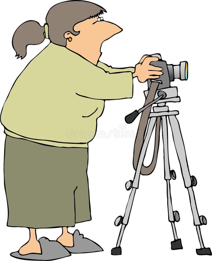 Camera on a tripod stock illustration