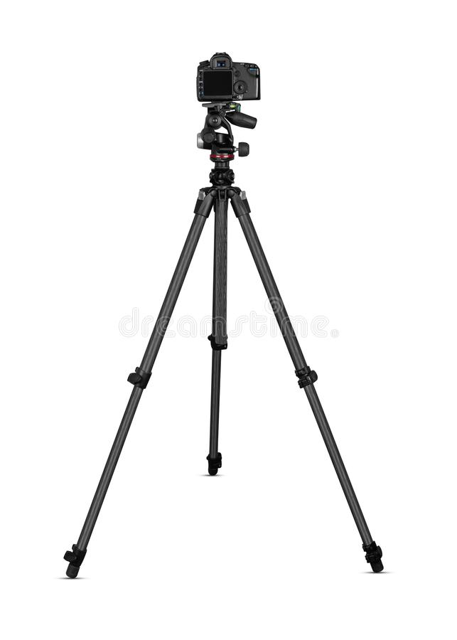 Camera on tripod royalty free stock photography