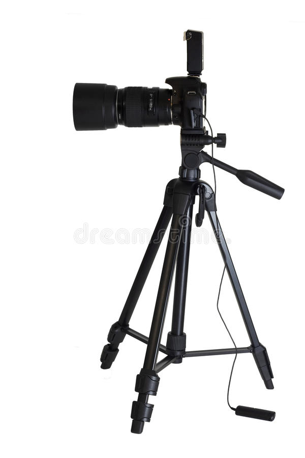 Camera on tripod isolated stock photos