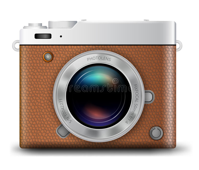 Camera vector icon. Brown Leather Camera Body with Lens realistic vector icon on white background vector illustration