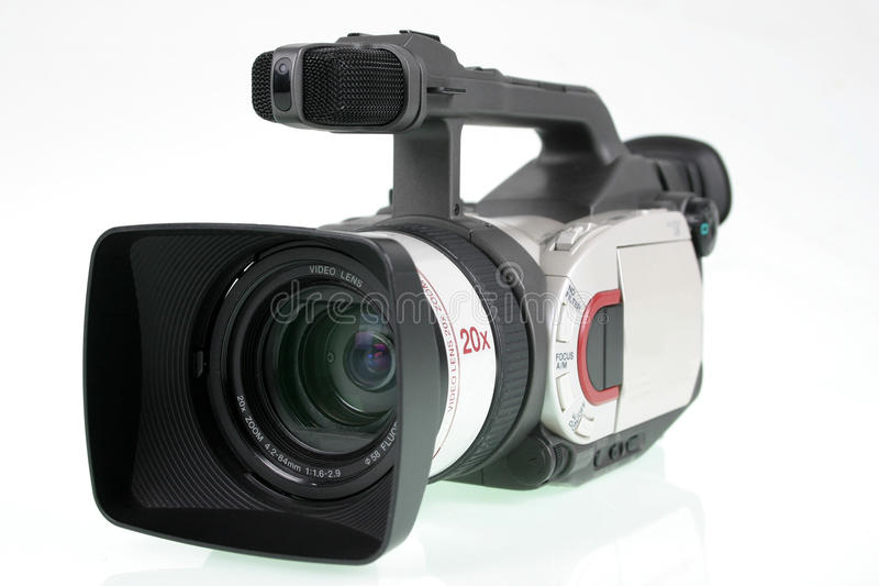 Camera video. Mini DV camera with wide angle lens and pro audio adapter and path saved royalty free stock photo