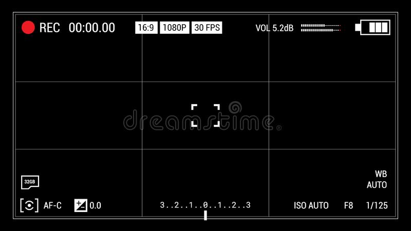 Camera viewfinder black background. Widescreen illustration. UI elements: time indicator, recording label, battery icon, crosshair. Hi-res camera screen overlay royalty free illustration