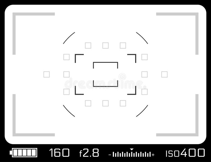 Camera viewfinder with exposure settings. Isolated on white vector illustration