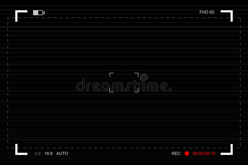 Camera viewfinder. Template focusing screen of the camera. Video vector illustration