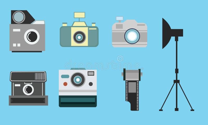 Camera vintage flat icon set film roll photography collection. Camera vintage flat icon set film roll photography strobe stock illustration
