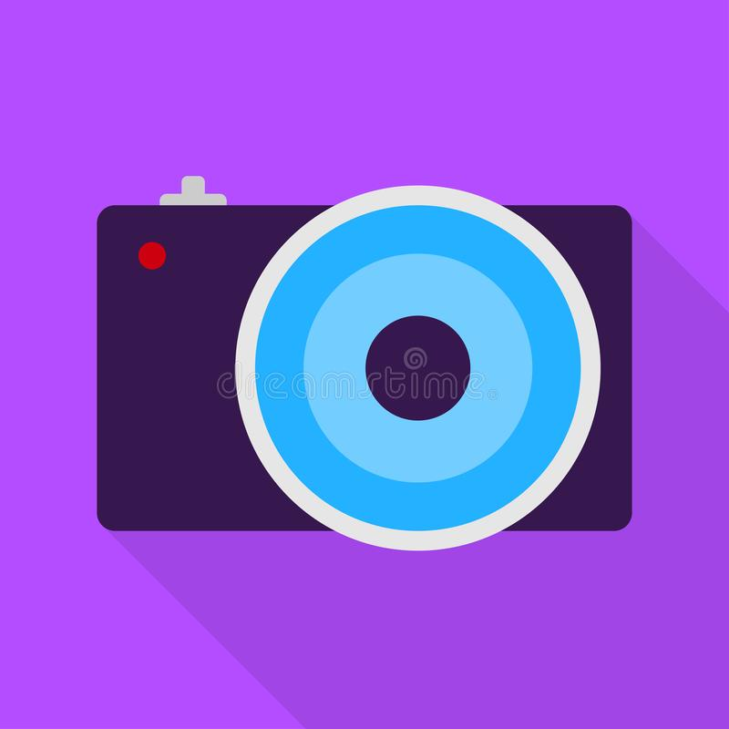 Cool camera on violet background. Flat design. Camera on violet background. Flat design icon art digital equipment film lens photo photography frame button stock illustration