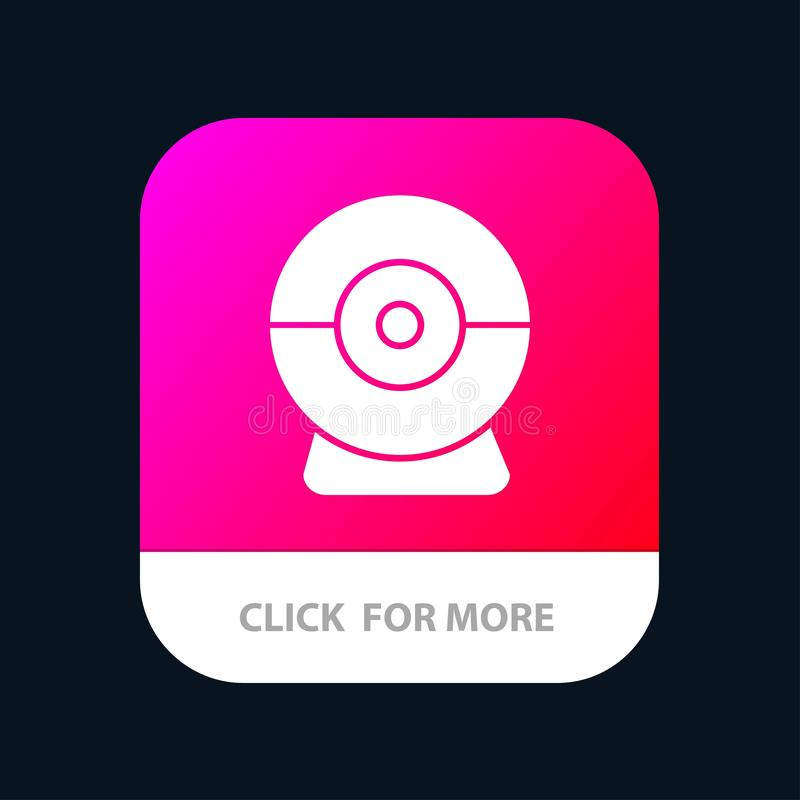 Camera, Webcam, Security Mobile App Button. Android and IOS Glyph Version vector illustration
