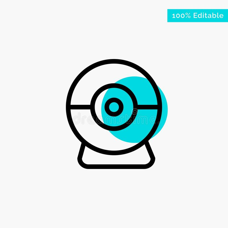 Camera, Webcam, Security turquoise highlight circle point Vector icon royalty free illustration