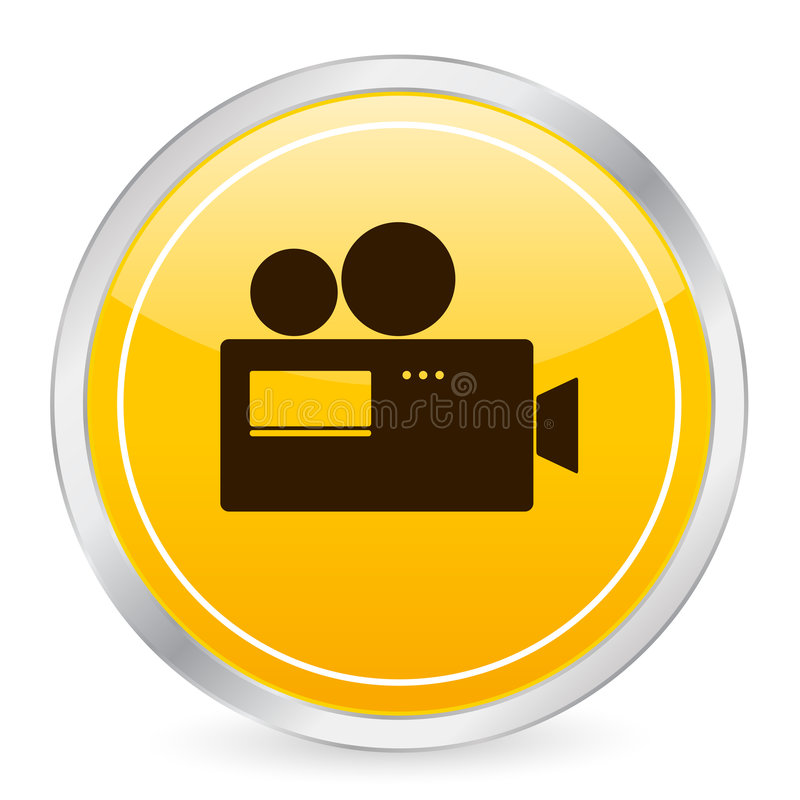 Camera yellow circle icon stock illustration