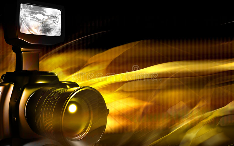 Camera with yellow light stock illustration