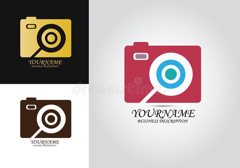 Camera Zoom Design Logo stock illustration