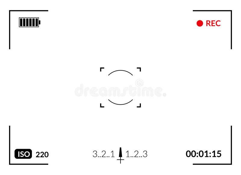 Camerabeeldzoeker met digitale nadruk en blootstellingscameramontages Het kader van de het schermfotografie stock illustratie