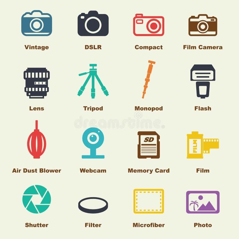 Cameraelementen stock illustratie