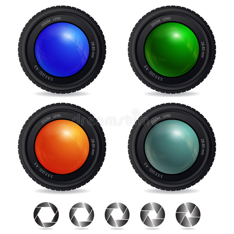 Cameralens. Set of Camera Lens with abstract Shutter Apertures. Vector design stock illustration